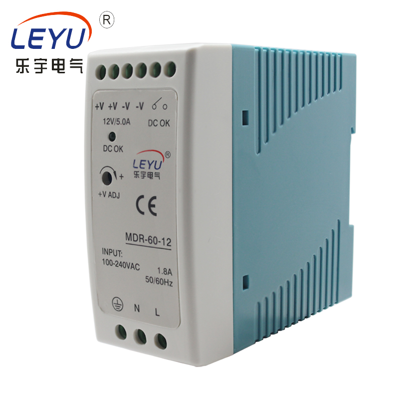 MDR-60-24 din <strong>rail</strong> series 60w 2.5A short circuit current overload protection 24vdc 110v 220v input ac to dc switch power supply