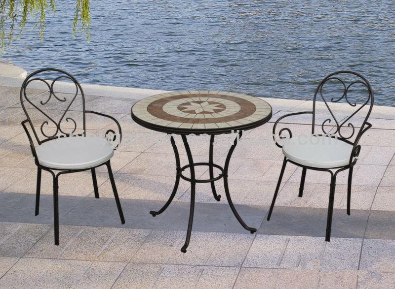 Mosaïque table chaises pliantes en métal, extérieure patio bistro set,  meubles de jardin en fer forgé moderne