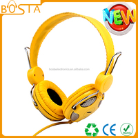 Factory custom private label fancy color stereo headphones built in mp3