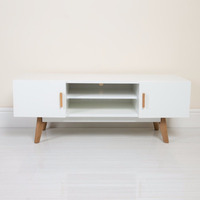scandinavian solid oak legs white MDF IKEA TV Stand chest with two doors