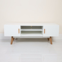 scandinavian solid oak legs white MDF TV Stand chest with two doors