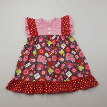 boya 2018 pattern printing short sleeve kids clothes girls dress casual cute child soft cotton clothes latest design baby frock
