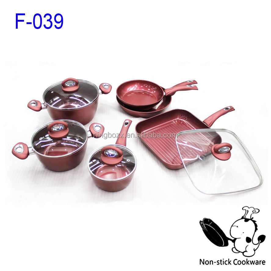 Noble Wine Red Color Ceramic Coating Silicon Handle Forged Family Cooking Set