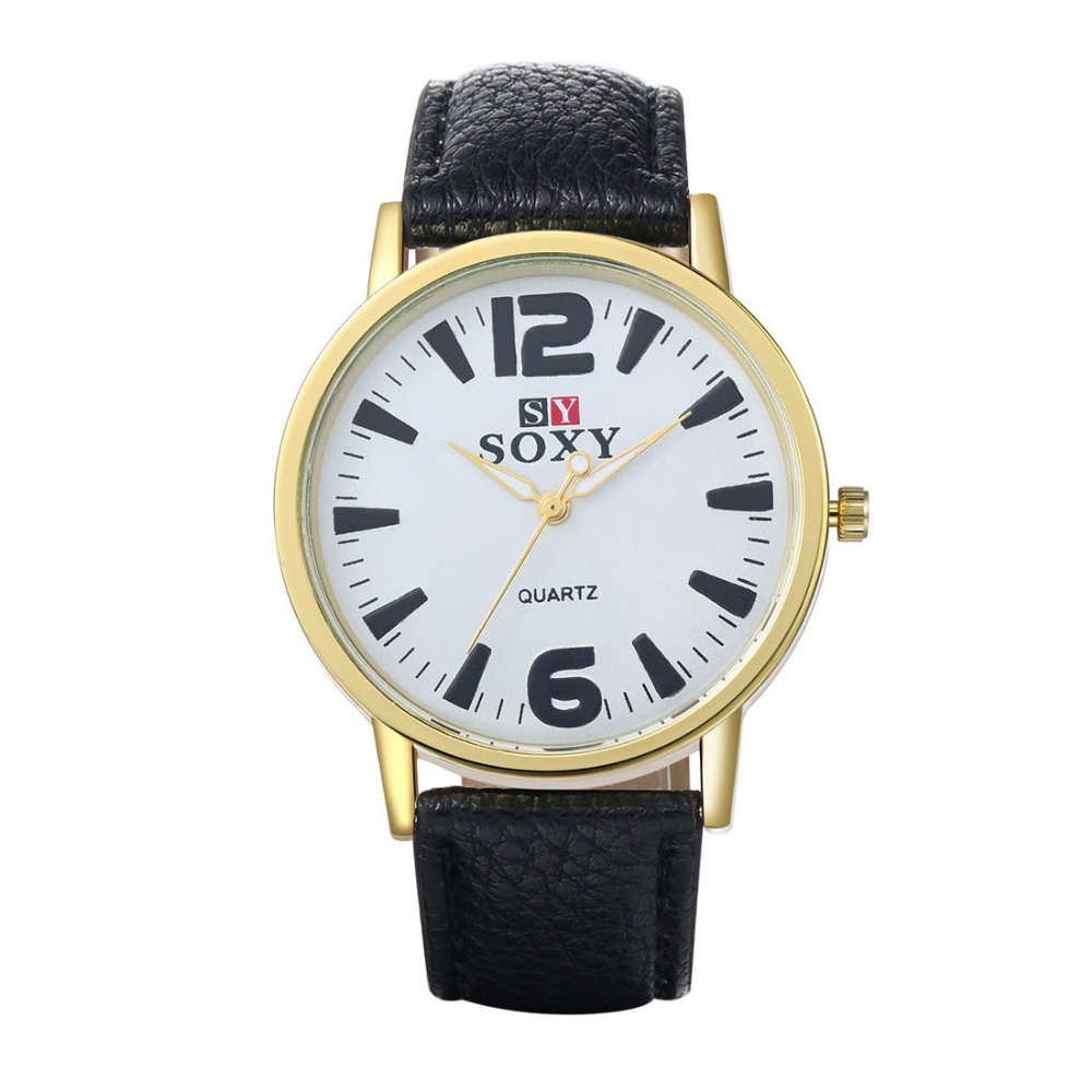 SJWH0031A SJ Simple Design Black Leather Watch Strap Alloy Korea Style Fashional Men Quartz Watch