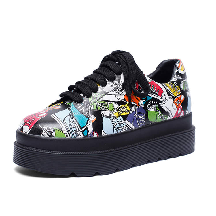 new brand genuine leather printed graffiti custom sneaker manufacturers