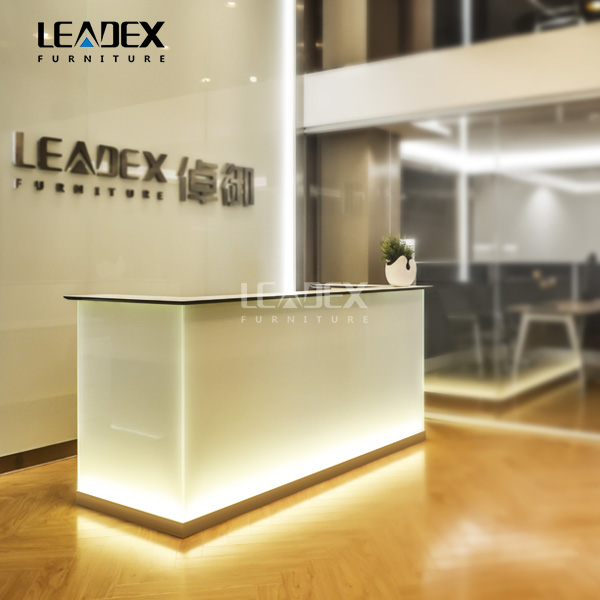 Luxury Office Front Counter Design White Modern Led Reception Desk