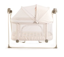 2 in 1 Big Space Electric Baby Crib/ Infant Rocker Baby Swing Bed Cradle Playpen Playard Baby Crib Bassinet Plush Fabrics toy