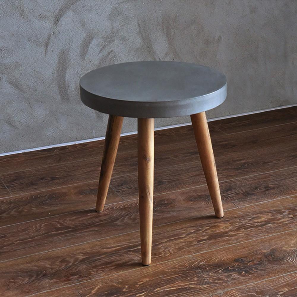 목회 로프트 스타일의 라운드 시멘트 컬러 커피 테이블 작은 ...