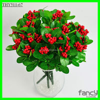 christmas decoration household item 7 branches artificial red fruit berries
