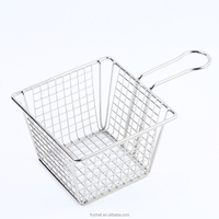 Wire Fries Basket, Square French Foods Serving Platter, Metal Fast Food Presentation Tray F0055