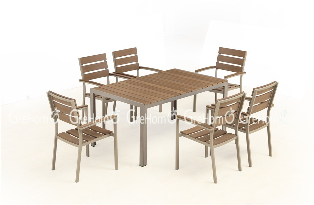 Wood plastic composite outdoor furniture table and chairs Synthetic wood patio furniture
