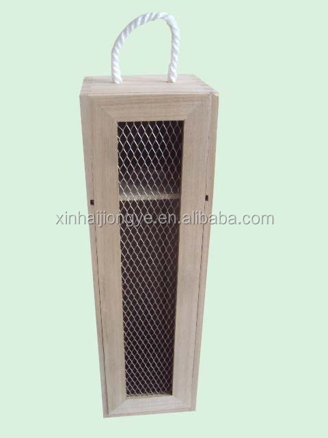 1 bottle wooden wine box with aluminum mesh