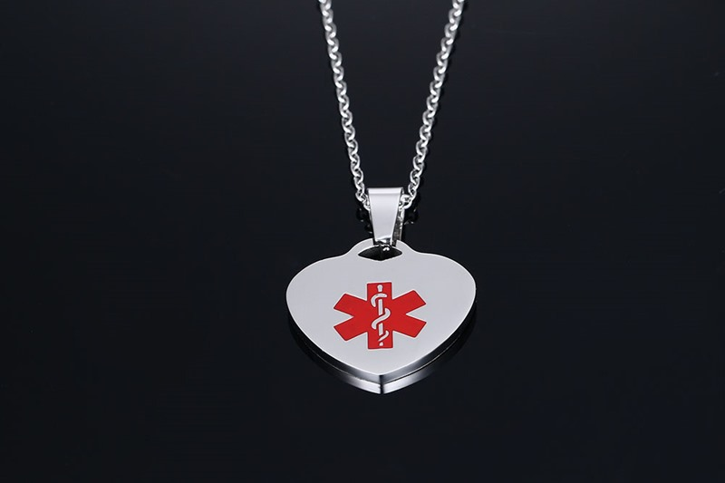 Stainless steel heart tags medical alert necklace