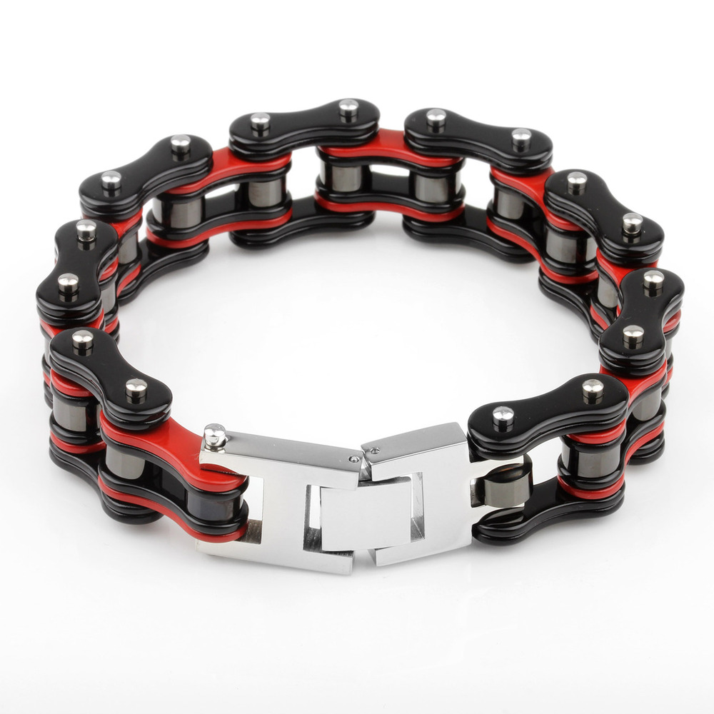 "3/4"" wide men black&red plated stainless steel motorcycle heavy chain bracelet roller wide bike chain low moq bracelets"