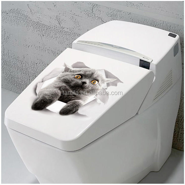 3D Grey Cats Toilet Stickers Hole View Bathroom Toilet Living Room Decor Decal Poster Background Wall Stickers