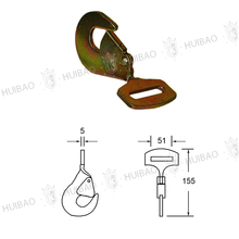 "Flat 2"" Twist Hook, Heavy Duty Safety Lanyards Snap Hook For Rope Belt"
