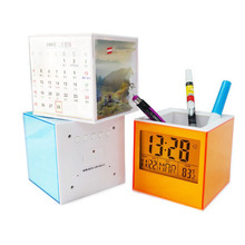 Digital Calendar Thermometer Display Desk Table Pen Container Holder Electronic Alarm Clock with 7 Color changing LED Back light