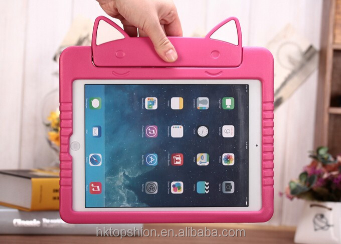 Kid friendly tablet case for apple ipad air 2, for ipad air cute cat design cover case for children