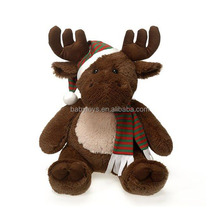 New soft custom christmas plush toy soft reindeer stuffed animal toys for xmas decors