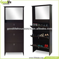 fashional melamine shoe cabinet cheap brown color