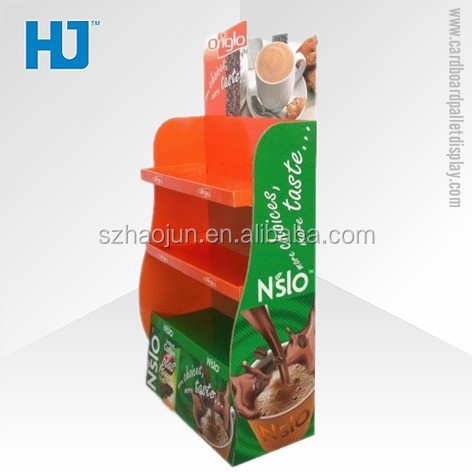 New arrival coffee display stand, cardboard floor supermarket display retail merchandising unit, promotional pallet display rack