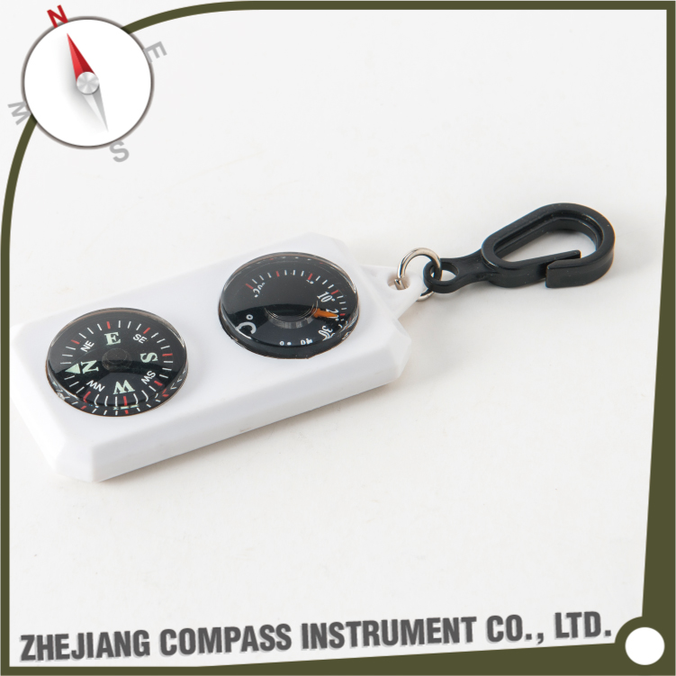 Multicolor plastic mini multifunctional keychain compass with celsius thermometer
