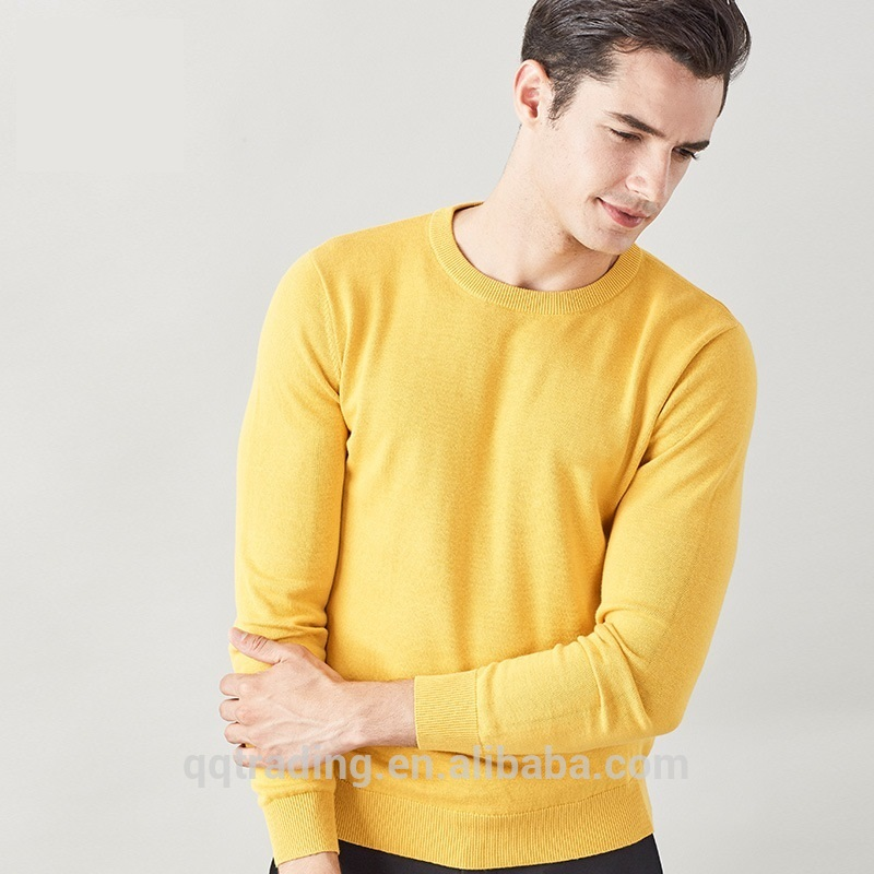 machine knitted handmade crewneck plain sweater men pullover custom design for man