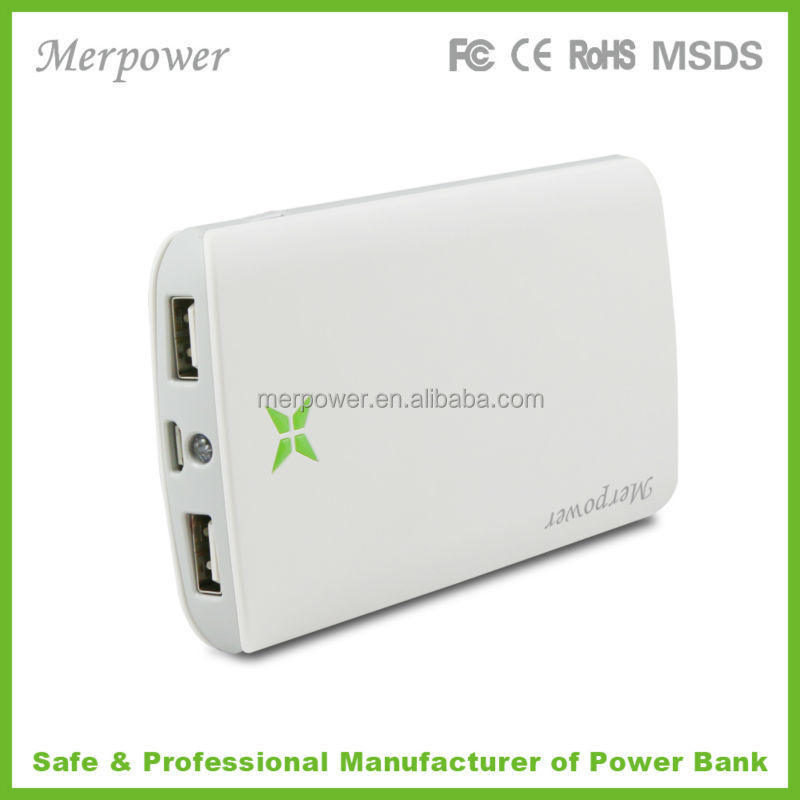 High capacity 2 USB output quick charge portable power bank with LED light