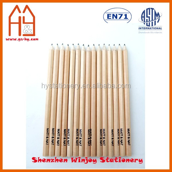Customized hotel pencil with logo printing, 12 pack natural wooden pencil hb