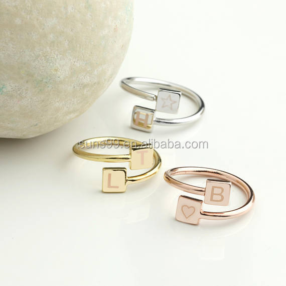 Wholesale Stainless Steel Geometric Square Spiral Custom Initials Ring Adjustable Ring