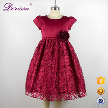 applique flower tulle dresses for girl high quality 2-10 years age kid dress kids evening dress