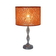 Beautiful lace shade antique metal acrylic hotel bedside cheap table lamp