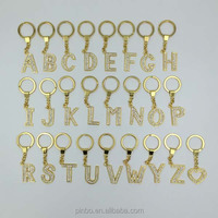 crystal key ring Keychain,Custom Metal keychain with letter,bling Gold Metal Letter key chain