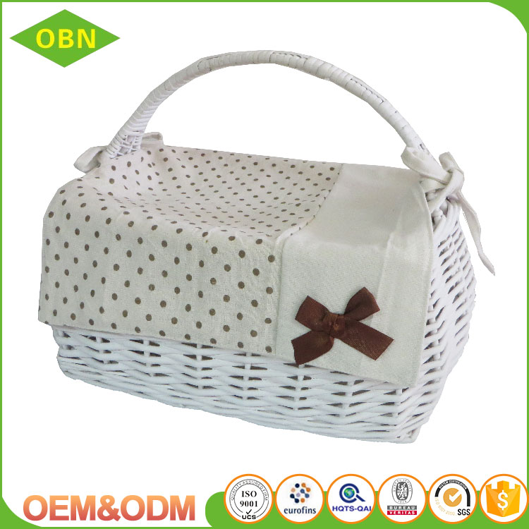 New arrival empty wicker hamper hanging basket white wicker basket picnic wicker food basket for sale