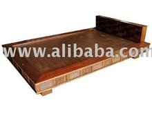 Teak Wood Bed Decorating With Sugar Palm Size 6 Feet
