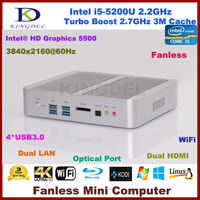 Cheap Fanless Mini ITX Industrial PC Intel Core i5 5200U Barebone Mini PC Window s 8 / 7 Linux Support Dual LAN Metal Case