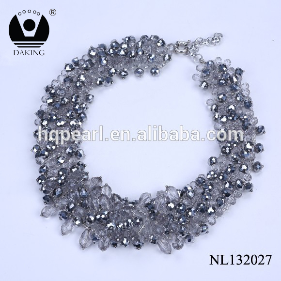 New fashion statement costume women necklace designs pendant beads crystal collar necklace jewelry