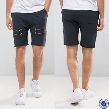 mens sweat shorts wholesale drawstring waistband men shorts with zips