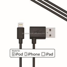 For Apple MFI authorized supplier wholesale left angled 90 degree usb cable for iphone/ipad mini cable support ios 8