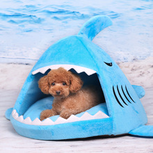 fashion style plush animal shape shark house for dog pet bed memory foam