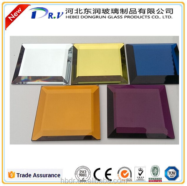 new fashion art decorative glass Mirror, customized size irregular bevelled glass mirror, beveled edge mirror tile