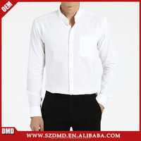 Man latest designs high quality pure white stand collar fitted dress shirt