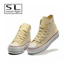 2017 Hot Sale High top Yellow canvas shoes for girls