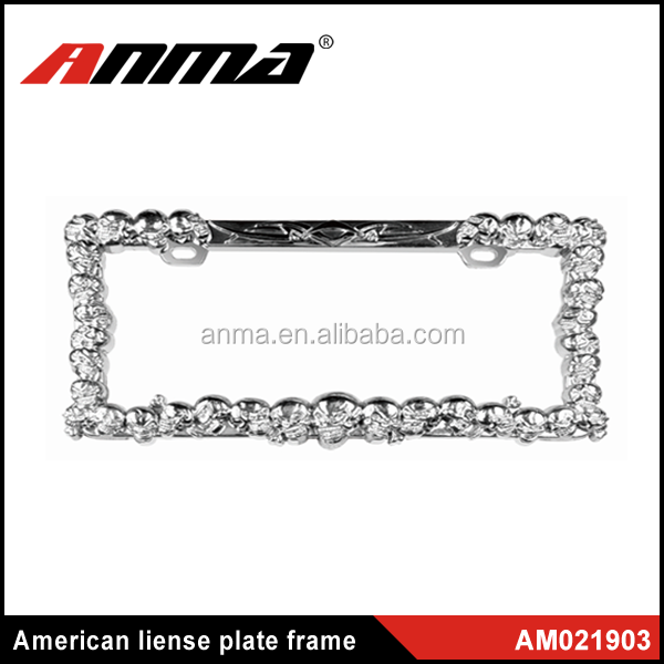 silver chrome custom license plate frame