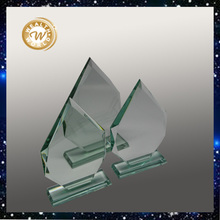 Jade glass award trophy,green glass plaques gifts