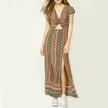 newest design women summer abstract print v-neck short sleeve long dresses