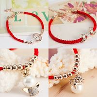 The new year must China wind red rope monkey on the Korean Korean year of fate crystal bracelet female accessories