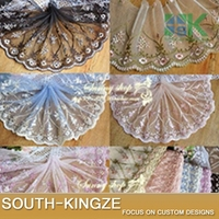 SK Lace wholesale 3 Yard / Pack Doll Clothes Hair Accessories Clothing Fabric Accessories 15CM Width Mesh embroidery laces fabri