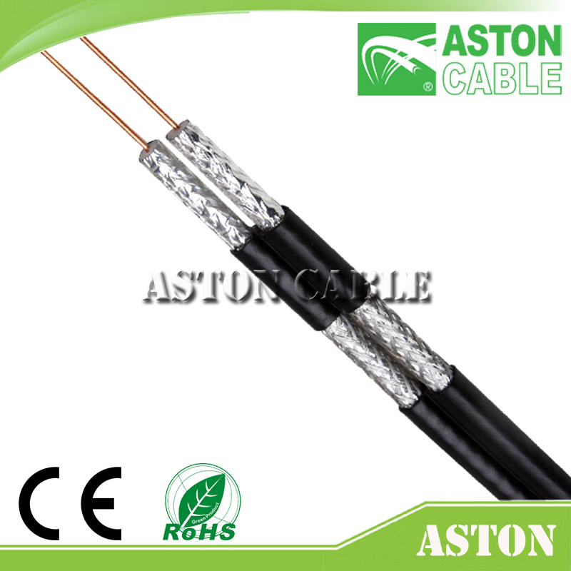 COAXIAL CABLE KX6 compression f connector WITH POWER CABLE