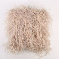 China Supplier European Fashionable Ostrich Feathers Fur Cushion Covers